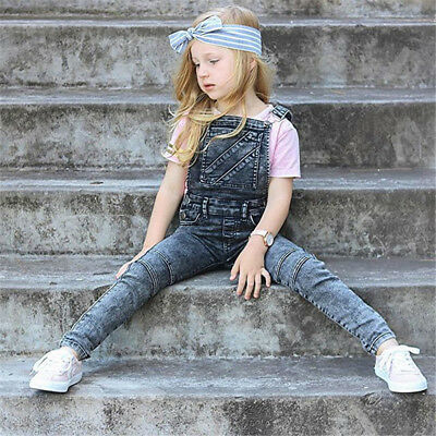 Casual Kids Boys Girl  Sleevele Jeans Overalls Backless Jumpsuit Pants Outfits