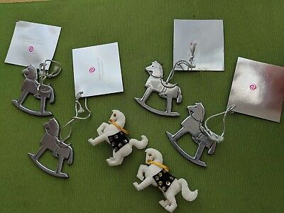 """Vintage 1970's Christmas Decorations Lot Horse Ornaments """"Wilton Pewter"""" Check"""