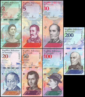 Venezuela 2 - 200 Bolívar Soberano 7 Pieces - PCS Set, 2018, P-NEW, UNC