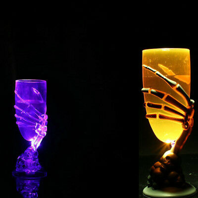 Glowing Wine Cup Claw Party Spooky Skeleton SKull Halloween Goblet LED Scary L