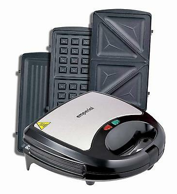 Emperial Sandwich Toaster Waffle Maker Iron Toastie Grill Panini Press 3 in 1