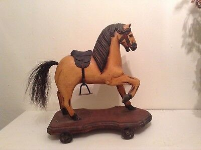"""ANTIQUE  19thc AMERICAN CARVED HORSE ON WHEELS TOY LARGE  14"""" LONG 15"""" HIGH rare"""