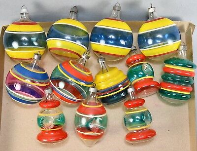 Vintage Ww2 (12) Shinybrite Premier Unsilvered Striped Ornaments!  Lot #102