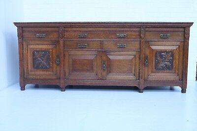Antique Late Victorian Large Light Solid Oak Sideboard Very Good Condition !!!