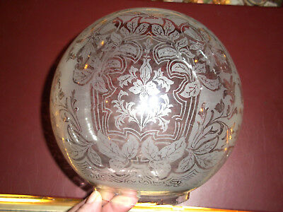 Stunning Antique / Vintage Acid Etched Oil Lamp Shade - Not A copy