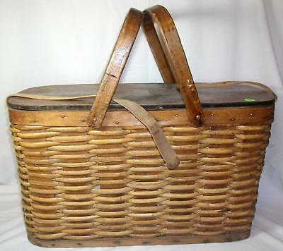 Vintage Antique Hawkeye Refrigerator Picnic Basket w/Tin Lining Woven Wicker