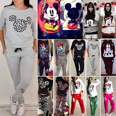 Women Mickey Minnie Mouse Sweatshirt Hoodie Jumper Tops Pants Trousers Tracksuit