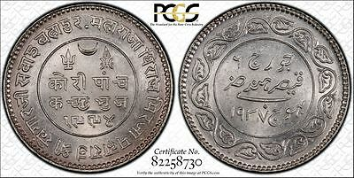 1937 India Kutch 5 Kori Variety Pcgs Ms 62 Pop.1