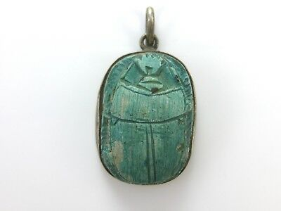 Large Vintage Turquoise Ceramic Egyptian Blue Scarab Sterling Silver Pendant