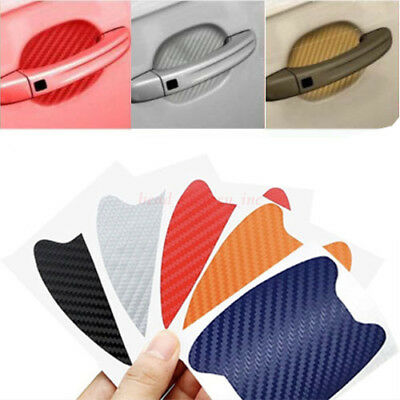 4x Carbon Fiber Style Car Door Handle Anti-Scratch Protective Film Stickers Set-