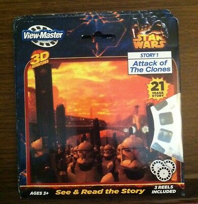 Star Wars View Master 3D Story 1 Attack Of The Clones 3 Reels Lucasfilm Toy New