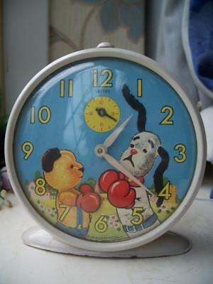 VINTAGE SMITHS ANIMATED BOXING SOOTY & SWEEP ALARM CLOCK c1960