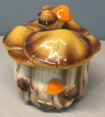 Vintage Homco Medium Size Mushroom Canister With Lid #1410