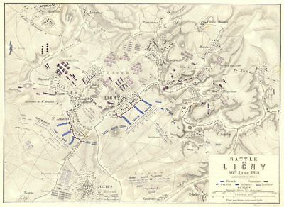BATTLE OF LIGNY. 16th June 1815. Belgium. Napoleonic Wars 1848 old antique map