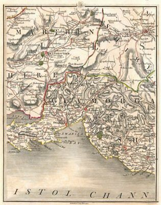 SWANSEA and CARMARTHEN Antique Map 1903 by Bartholomew; Llanelly Tenby Neath