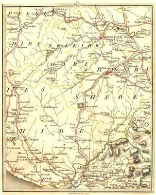 SCOTTISH BORDERS.Disputed border.Lockerbie Melrose Peebles Gretna.CARY 1794 map