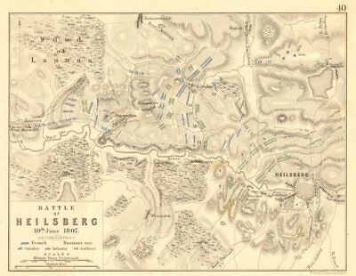BATTLE OF LIDZBARK WARMINSKI (HEILSBERG). 10th June 1807. Poland 1848 old map