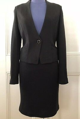 JIGSAW Womens Two Piece Skirt Suit Set, Wool, Size 10, Black