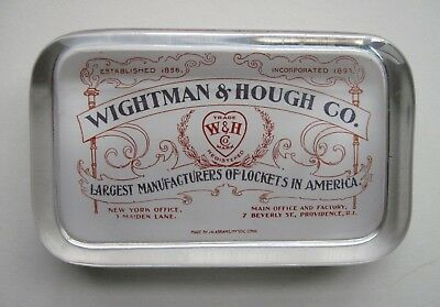 Wightman & Hough Lockets Providence R.I. Glass Advertising Paperweight Abrams