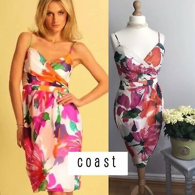 Coast Strappy Plunge Rosetta Floral Silk Pencil Dress 12 New With Tags RRP £135