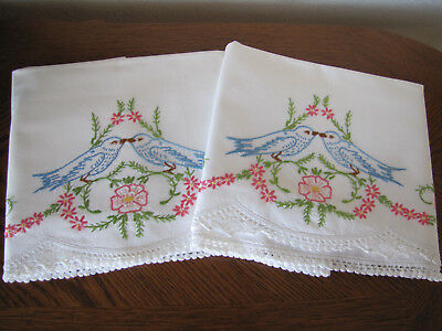 Vintage Pair of Pillowcases Embroidered & Crocheted Bluebirds & Asters Exquisite