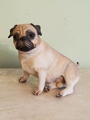 PUG (FAWN) DOG Figurine Statue Hand Painted Resin Gift Pet Lovers Tan signed