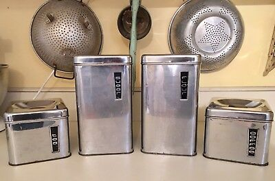 """Vintage 1950's """"Lincoln BeautyWare"""" 4 Piece Chrome Canister Set with Lids"""