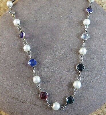 """Vintage Silver Plated 16"""" Chain Necklace Bezel Set Multi-color Glass Stone  #446"""