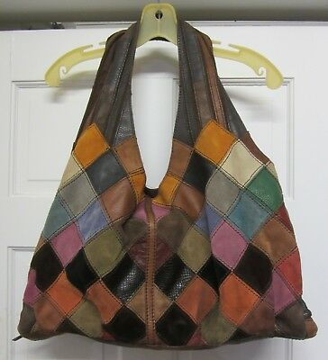 Lucky Brand Voodoo Shoulder Hobo Bag Purse Patchwork Tote Leather Handbag Rare