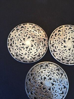 Antique Vintage Sterling Coasters(3) Webster Glass Backing Ornate 3 Inches