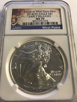 2014 W SILVER EAGLE NGC MS70  EARLY RELEASES Struck West Point PURPLE HEART
