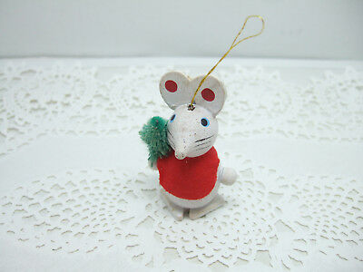 Rustic Christmas Mouse Rolly Polly Ornament Wooden White Country Mouse w/ Tree