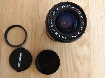 COSINA 35-70mm 1:3.5-4.8 MC MACRO LENS multi coated with star 8 52mm filter