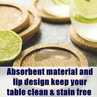 12 Cork Coasters for Drinks Absorbent with Round Ring Protect Wood Furniture