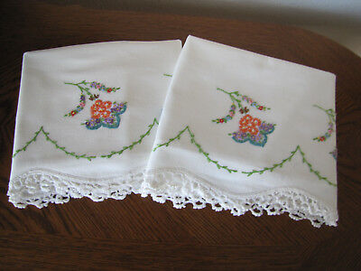Vintage Pair of Pillowcases Embroidered & Crocheted Garland Of Asters Exquisite