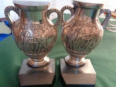 Urn Book Ends-Antique-Egyptian Scene-Ornate Design-Heavy Silver Over Cast Iron-