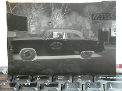 c.1950s TENNESSEE HIGHWAY PATROL CAR NEGATIVE AT ARCHIES BARBER SHOP~KNOX,TENN