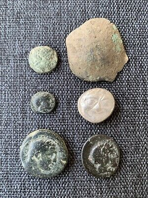Lot Of 6 Unresearched Ancient Authentic Coins Diff Types And Mints.