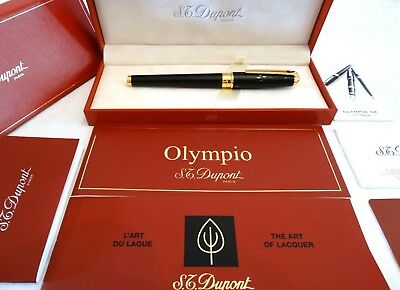 S. T. Dupont Olympio Large Fountain Pen In Black Laque De Chine With 18K Nib M