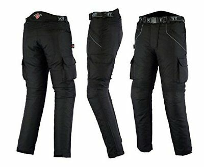 Texpeed Mens Black Textile Waterproof CE Armoured Motorbike Motorcycle Trousers