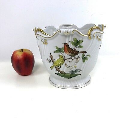 "Herend Hungary Rothschild Bird 6-1/8"" Tall Flower Cachepot Cache Pot Jardiniere"