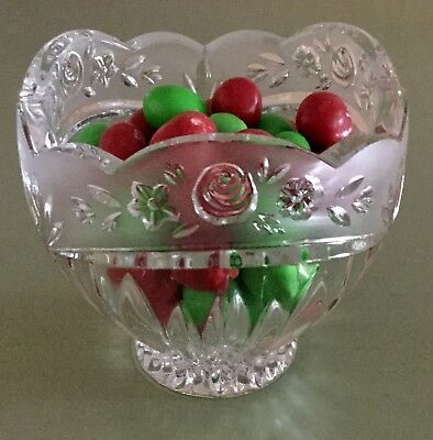 Vintage Oneida Southern Garden Crystal Hostess Bowl Rose Frosted Glass Germany