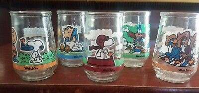 1998 Welch's Jelly Jars. 3 Peanuts/2 Disney (Donald Duck) Perfect Condition