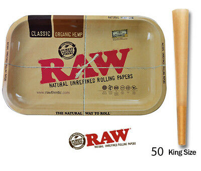 50 count RAW pre rolled Cones King Size +Raw Rolling Small 7 x11 Tray