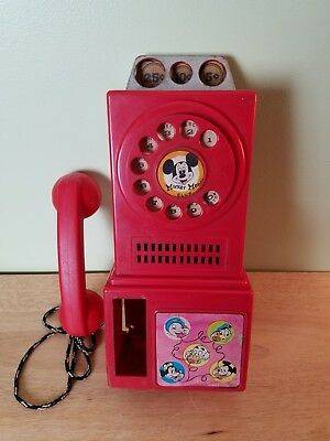 Vintage 1950's Mickey Mouse Club Pay Phone Disney Rare Display Item Plastic Toy