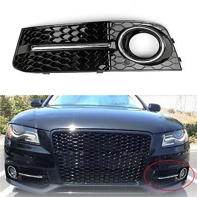 LH Chrome Honey Comb Fog Light Cover Grille Grills For Audi A4 B8 2009-2012