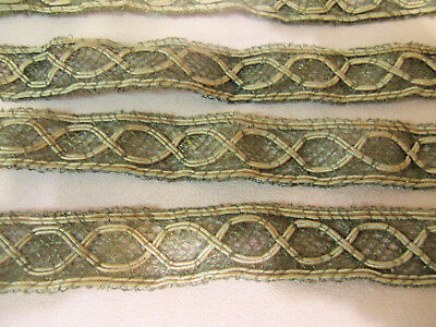 Lovely Antique Edwardian Metallic Soutache Braid Dress Trim