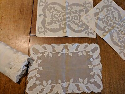 8 MADEIRA Embroidery placemats very Fine sheer organdy linen Marghab?