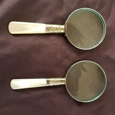 Antique Sterling Silver  & Mother of Pearl Handle sm. Magnifying Glass