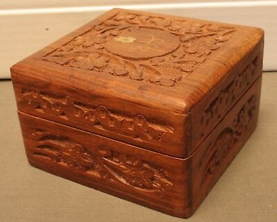 Vintage Hand Carved Solid Rosewood Box / Trinket With Small Brass Inlay, Nice